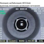 Menu de l' autorefractometre avec keratometrie